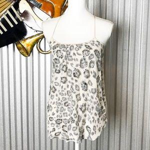 Rebecca Taylor Cream Gray Silk Cheetah Camisole